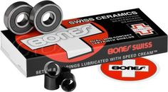 Bones Swiss Ceramics Bearings (Box of 8) by Bones Bearings. $94.99. Bones Swiss Ceramics are in a class by themselves. If you want the best there is, this is it. The Cerbec ceramic balls are much lighter, harder, stronger, and longer lasting than the finest steel balls. Resist dirt and moisture better. High speed nylon ball retainer for greater strength and speed. Skate Rated clearances, tolerances, materials and lubricant provide the best performance and durability possible. Se...