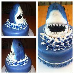 Shark Cake all edible, even the teeth Shark Cake, Sharks, Cake Designs, Birthday Cakes, Cake Ideas, Fun Stuff, Teeth, Biscuits, Party Ideas