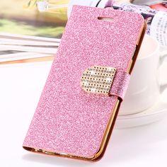 Para iphone 5s caso muchacha de las mujeres de bling del brillo del diamante de lujo casos de cuero para iphone 5 5s se 5g cubierta del soporte de la carpeta para el iphone se