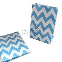 Sky Blue Chevron Standing Treat Bags - Pack of 12 / Lolly Buffet Supplies