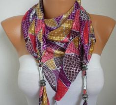 Pendant Scarf   Headband Necklace Cowl  Multicolor by fatwoman, $13.50