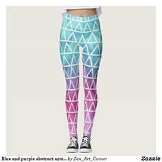 Blue and purple abstract aztec pattern leggings