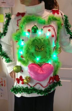 OOH LALA UGLY TACKY GRINCH CHRISTMAS SWEATER SZ M/L LIGHTS UP FOO FOO #Handmade #Christmas