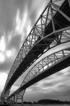 The Blue Water Bridge in Port Huron, Michigan - Black & White