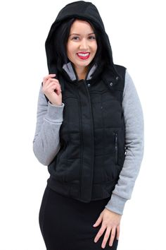 Contrast Sleeve Sweater With A Hood