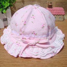 Spring / summer / autumn Flower Design Baby Girls Basin Cap; Multi color Kids Bucket Hat