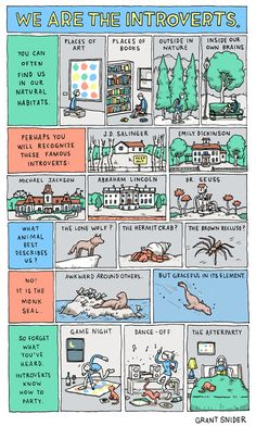 I'm a monk seal!  'We Are the Introverts' by Grant Snider [Incidental Comics]