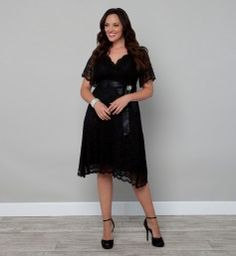 Plus Size Dresses - Retro Glam Lace Plus Size Party Dress by Kiyonna