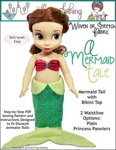Mermaid pattern for Disney Animator Dolls by Doll Tag clothing from PixieFaire