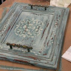 Old cabinet door repurposed into a tray