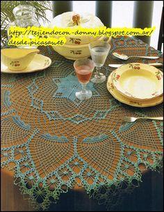 TEJIDOS A CROCHET - GANCHILLO  - PATRONES: Hermoso mantel redondo,tejido a crochet