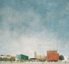 Image 5 of 8 from gallery of Studio 015 Paola Viganò Wins Competition to Masterplan Rome's Progetto Flaminio District. IAN+'s Shortlisted Entry. Image via Progetto Flaminio Architecture Graphics, Architecture Drawings, Architecture Portfolio, Public Architecture, Photomontage, Rendering Techniques, Collage Drawing, Kunst Poster, Architecture Visualization
