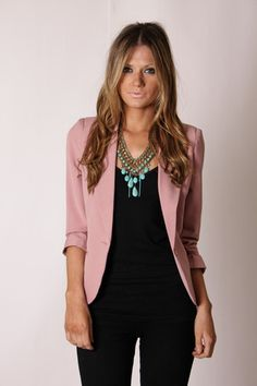 Outfit // Mauve Charlie Crop Blazer with Black and Turquoise Accent by esther #workspiration