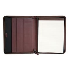 Royce Leather Zippered Convertible Padfolio, Purple