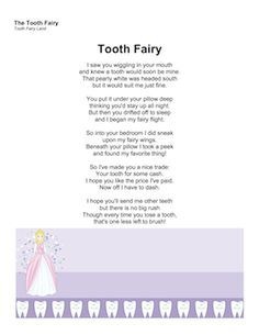 Instead of a letter, what about a nice poem from the Tooth Fairy? Waking up to this under his/her pillow will make your child proud, and keep that belief in the Tooth Fairy going for at least a little while longer. Free to download and print
