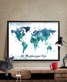 Watercolor Map Art World Map Poster Large World by FineArtCenter