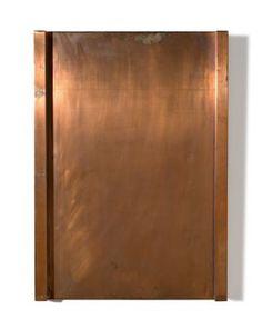 """Günther Förg  Füssen 1952 – 2013 Freiburg  """"Ohne Titel, 1976"""". 1987 Kupfer auf Holz. 70 × 50 × 4 cm (27 ½ × 19 ⅝ × 1 ⅝ in.)"""