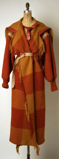 Coat Jean-Charles de Castelbajac (French) ca. late 1970s wool, leather, cotton, metal