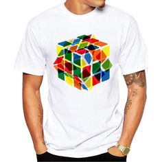 Rubik's Cube Men's Short Sleeve Casual White T-Shirt