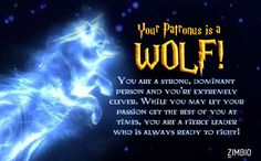 I took Zimbio's Patronus quiz and got Wolf! - Quiz <<< I feel like I would have a crow, though. Harry Potter Quiz Patronus, Wolf Patronus, Harry Potter Pin, Harry Potter Theme, What Is My Patronus, Club, Hacks, Libros, Hogwarts