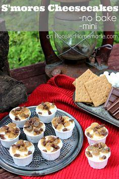 No Bake Mini S'mores Cheesecakes - Hoosier Homemade Mini Desserts, No Bake Desserts, Just Desserts, Delicious Desserts, Snack Recipes, Dessert Recipes, Snacks, Smores Dessert, Cheesecake Recipes