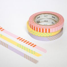 MT Set of Three Slim Washi Tapes - Deco Pastels (A) | Fox and Star UK