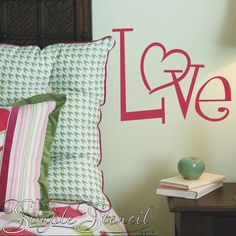 LOVE - FREE vinyl wall word decal with every order placed at www.TheSimpleStencil.com through Feb. 8th plus save 20% with promo code Romance20 at checkout!