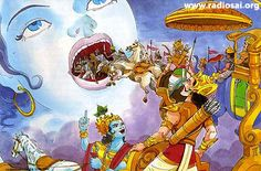 Krishna / kali reveals His Divine powers by turning the tide of the battle in favour of the Pandavas.