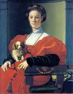 Bronzino - Portrait of a Lady in red with dog Frankfurt, Städel Museum Kunstinstitut