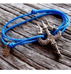 silver, amorem Cord bracelet with Trishula pendant amorem