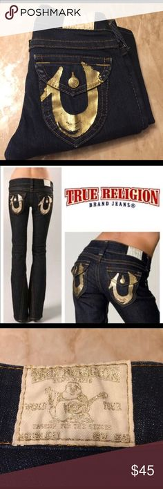 """True Religion Dark Wash Jeans size 24 True Religion Jeans: Joey, gold logo RARE! Never worn 28.5"""" Inseam 7"""" Rise 8.5"""" Leg Opening  *reasonable offers only please ❤️ True Religion Jeans Boot Cut"""