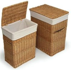Use Wicker Hampers as night stands. they hold seasonal clothing and blankets/beach towels.