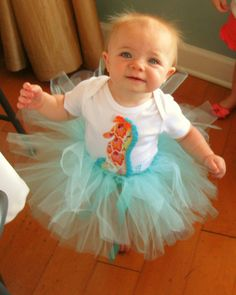 Beach Baby Shower - Cousin dressed in No-Sew Tutu and Etsy Seahorse Onesie