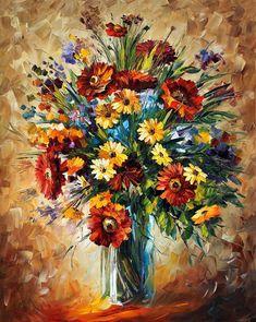 Leonid Afremov, oil on canvas, palette knife, buy original oil painting flowers - Oil Painting Oil Painting Flowers, Oil Painting On Canvas, Canvas Art, Garden Painting, Knife Painting, Acrylic Canvas, Spray Painting, Art Floral, Art Graphique