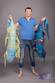 """Войлочная подушка """"Морская рыба"""". Handmade."""