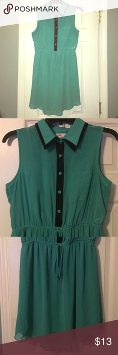Bluegreen Dress Only worn once! Blue-green with black detailing, collared, short sleeve, hem line is lower in the front/back; higher on the sides, has string around the waist  for decoration- CANNOT be used to make it tighter Dresses