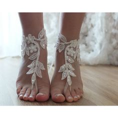 Ivory Beach Wedding Barefoot Sandals Shoes Prom Party Bangle Beach... ($25) ❤ liked on Polyvore featuring shoes, sandals, beach sandals, bridal party shoes, lace bridal shoes, ivory shoes and prom shoes