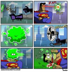 """""""Superman dies after being covered in kryptonite dust""""<<The original Batman vs. Superman was a bit more Spy vs. Spy, and honestly, I feel cheated. Dc Comics Art, Fun Comics, Marvel Dc Comics, Humor Batman, Batman Y Superman, Manga, Superhero Memes, Funny Comic Strips, Dawn Of Justice"""