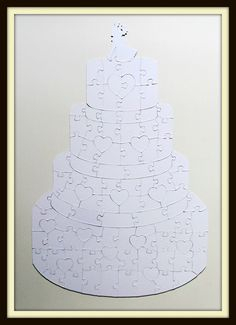 Wedding Cake shaped Wedding Guest Book Puzzle featuring Large / Extra Large Blank Puzzle Pieces/ Wedding Cake Guestbook