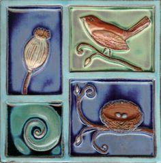 """Bird Over Nest 8"""" x 8"""" Ceramic Art Tile"""
