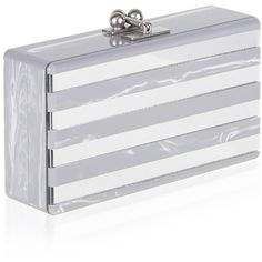 Edie Parker Jean Clutch in Gray Flannel Stripe & Clear Mirror ($1,195) ❤ liked on Polyvore featuring bags, handbags, clutches, gray handbags, clear handbags, floral purse, striped handbag and clear clutches