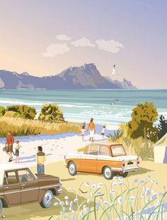 Check out Towards Whangarei Heads by CCS at New Zealand Fine Prints New Zealand Art, Nz Art, Quirky Art, Kiwiana, Classic Image, Landscape Illustration, Vintage Travel Posters, Landscape Paintings, Design Art