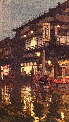 Hiroshi Yoshida (吉田 博 Yoshida Hiroshi, September 1876 - April was a Japanese painter and woodblock print maker. Japanese Art Prints, Japanese Artwork, Japanese Painting, Japan Illustration, Hiroshi Yoshida, Art Occidental, Hokusai, Art Asiatique, Art Japonais