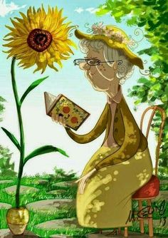 illustration of an old woman reading by a sunflower on a blue sky spring green day Reading Art, Woman Reading, I Love Reading, Reading Garden, Reading Books, I Love Books, Good Books, Books To Read, My Books