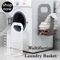 Folding Hamper Bathroom Clothes Plastic Storage Basket Wall Hanging Laundry Basket is personalized, see other cheap storage baskets on NewChic. Laundry Storage, Laundry Hamper, Laundry Room, Diy Laundry Baskets, Baskets On Wall, Storage Baskets, Trick 17, Room Decor For Teen Girls, Kids Room