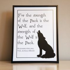 "Rudyard Kipling Jungle Book Wolf Pack Quote Decorative Art Print Instant Digital Download 8"" x 10"" and 8.5"" x 11"""