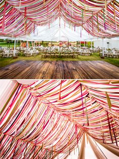 Garden wedding with a colorful ribbon tent at Rancho Valencia and Spa
