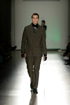 Dark Green Suit with faux leather sweater #dark #green #faux #leather #sweater  #suit #blazer #man #collection #fall #winter #luiscarvalho