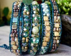 RUSTICALLY HIP Beaded Leather 5 Wrap by BOUTIQUEofBlueRidge