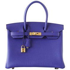 5ba01af4c0fa Hermes Birkin 30 Bag Blue Electric Clemence Gold Hardware Hermes Box